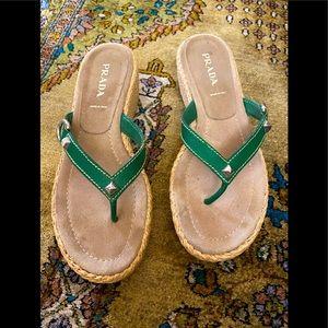 Prada Espadrille slide sandals green leather top
